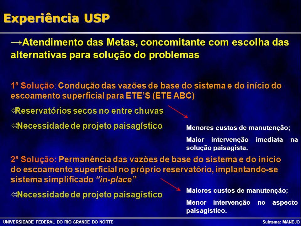 UNIVERSIDADE FEDERAL DO RIO GRANDE DO NORTE Subtema: MANEJO Experiência USP Atendimento das Metas, concomitante com escolha das alternativas para solu