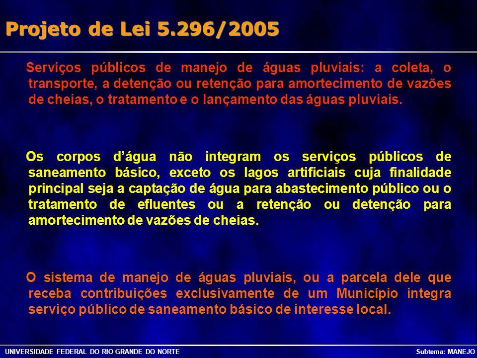 Projeto de Lei 5.296/2005 UNIVERSIDADE FEDERAL DO RIO GRANDE DO NORTE Subtema: MANEJO Serviços públicos de manejo de águas pluviais: a coleta, o trans