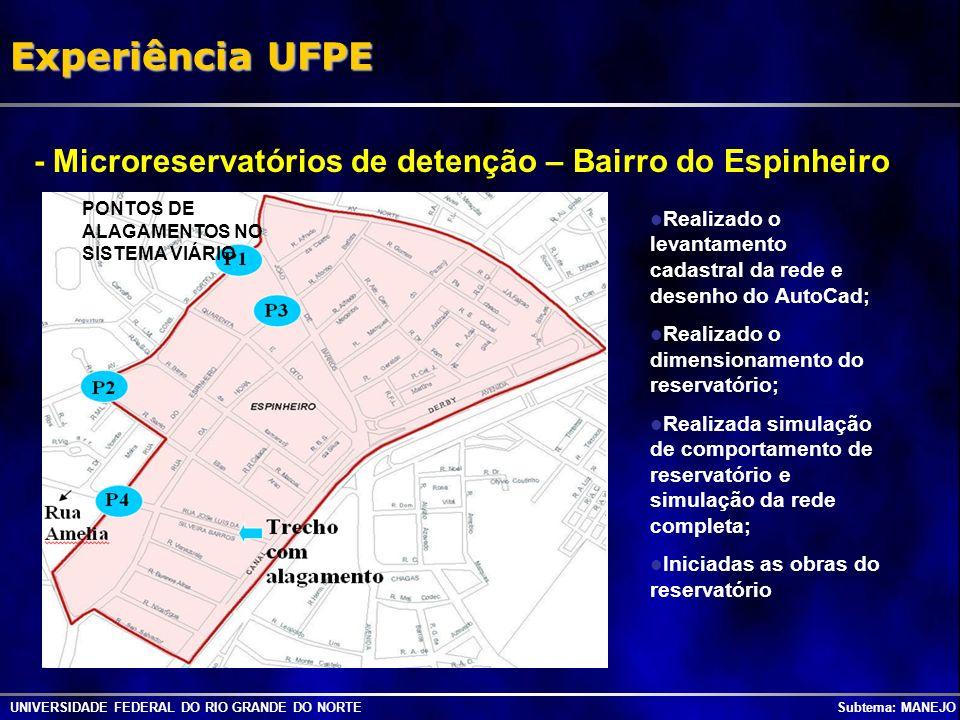 UNIVERSIDADE FEDERAL DO RIO GRANDE DO NORTE Subtema: MANEJO Experiência UFPE Vertedor (300 cm x 20 cm) Orifício (20 cm x 20 cm) Microreservatórios de detenção