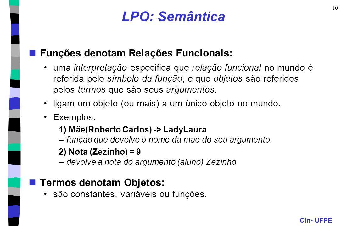 CIn- UFPE 10 LPO: Semântica Funções denotam Relações Funcionais: uma interpretação especifica que relação funcional no mundo é referida pelo símbolo d