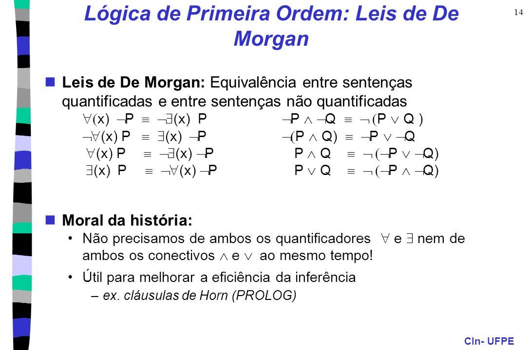 CIn- UFPE 14 Leis de De Morgan: Equivalência entre sentenças quantificadas e entre sentenças não quantificadas x) P (x) P P Q P Q ) (x) P (x) P P Q) P
