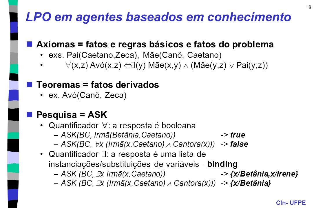 CIn- UFPE 18 LPO em agentes baseados em conhecimento Axiomas = fatos e regras básicos e fatos do problema exs. Pai(Caetano,Zeca), Mãe(Canô, Caetano) (