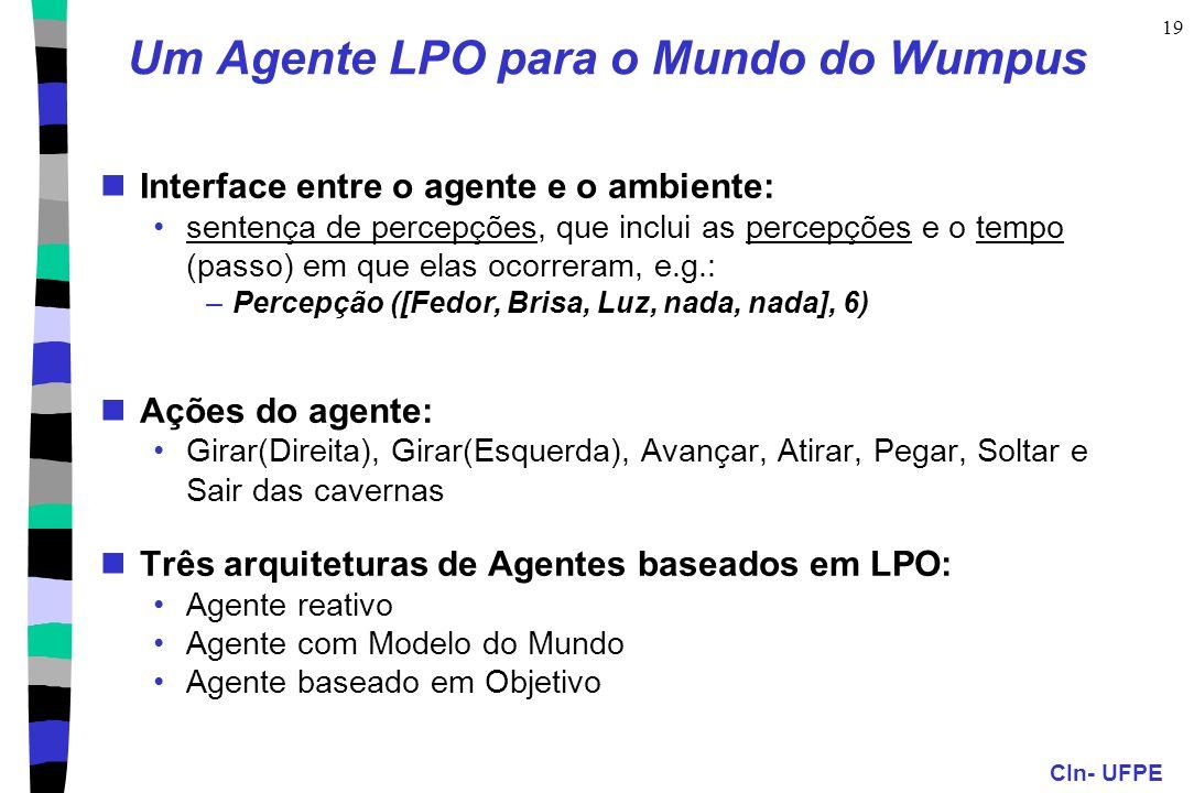 CIn- UFPE 19 Um Agente LPO para o Mundo do Wumpus Interface entre o agente e o ambiente: sentença de percepções, que inclui as percepções e o tempo (p