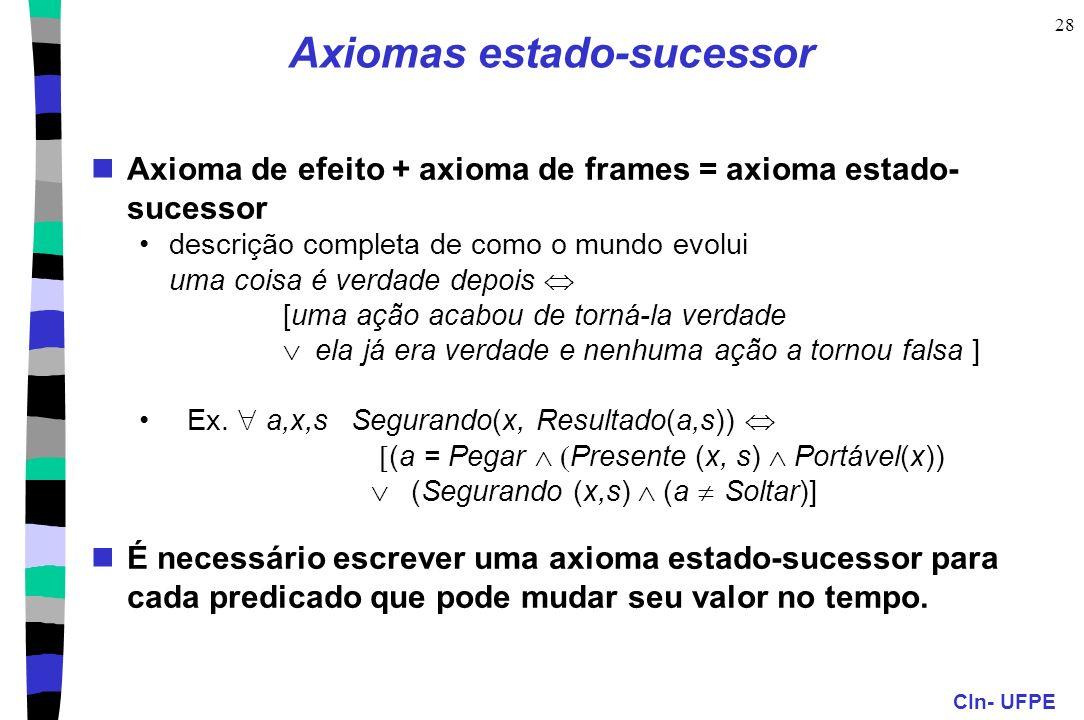 CIn- UFPE 28 Axioma de efeito + axioma de frames = axioma estado- sucessor descrição completa de como o mundo evolui uma coisa é verdade depois [uma a