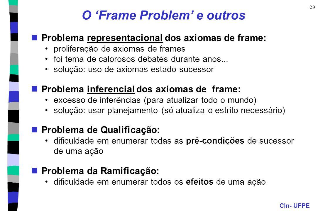 CIn- UFPE 29 O Frame Problem e outros Problema representacional dos axiomas de frame: proliferação de axiomas de frames foi tema de calorosos debates