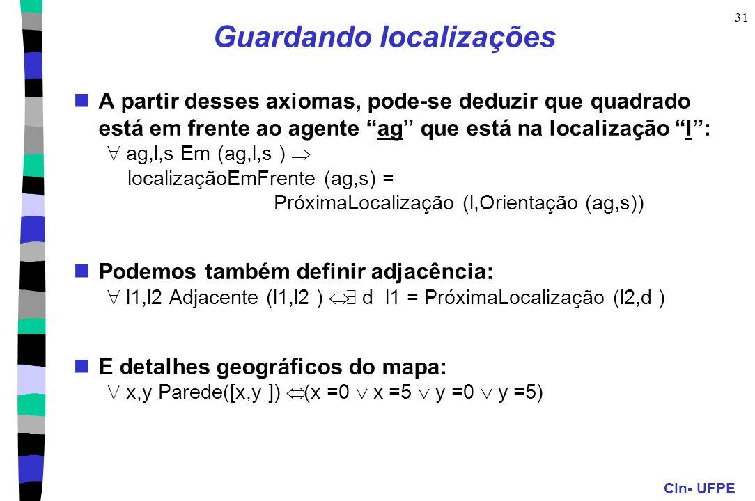 CIn- UFPE 31 A partir desses axiomas, pode-se deduzir que quadrado está em frente ao agente ag que está na localização l: ag,l,s Em (ag,l,s ) localiza