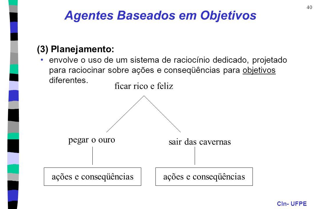 CIn- UFPE 40 (3) Planejamento: envolve o uso de um sistema de raciocínio dedicado, projetado para raciocinar sobre ações e conseqüências para objetivo