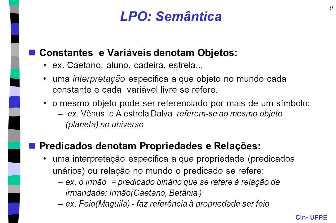 CIn- UFPE 10 LPO: Semântica Funções denotam Relações Funcionais: uma interpretação especifica que relação funcional no mundo é referida pelo símbolo da função, e que objetos são referidos pelos termos que são seus argumentos.