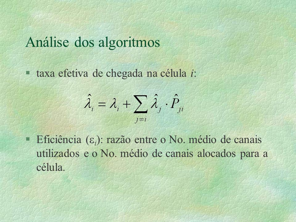 Análise dos algoritmos §taxa efetiva de chegada na célula i: §Eficiência ( i ): razão entre o No.