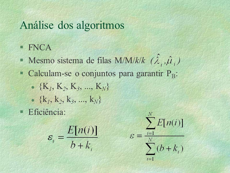 Análise dos algoritmos §FNCA §Mesmo sistema de filas M/M/k/k (, ) §Calculam-se o conjuntos para garantir P B : l {K 1, K 2, K 3,..., K N } l {k 1, k 2, k 3,..., k N } §Eficiência: