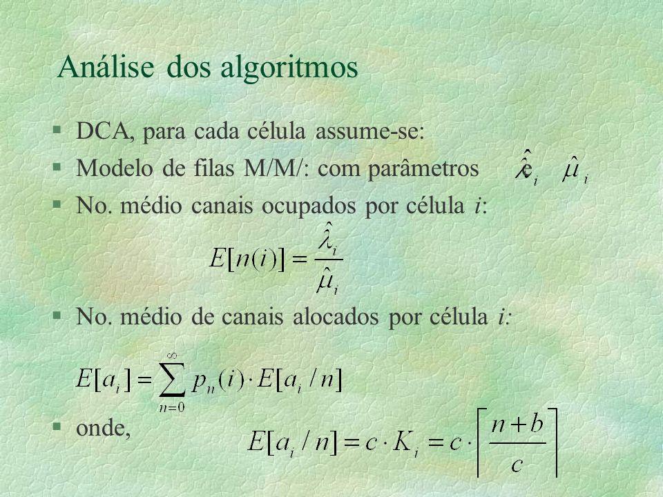 Análise dos algoritmos §DCA, para cada célula assume-se: §Modelo de filas M/M/ com parâmetros e §No.