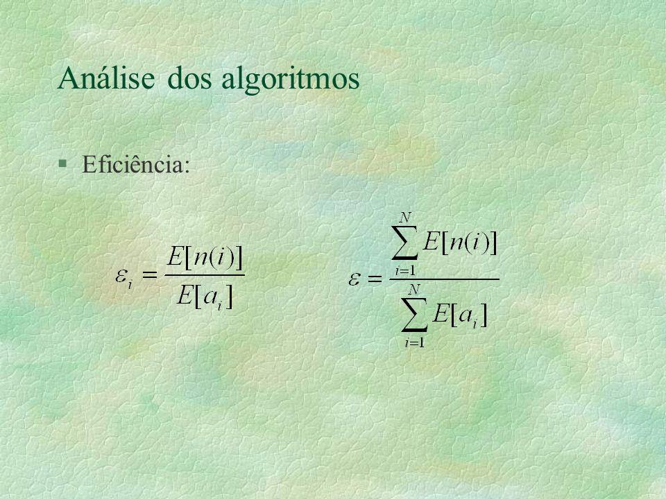 Análise dos algoritmos §Eficiência: