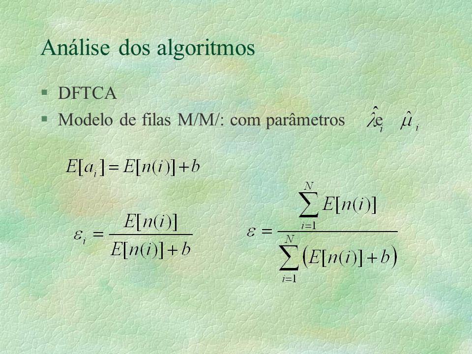 Análise dos algoritmos §DFTCA §Modelo de filas M/M/ com parâmetros e
