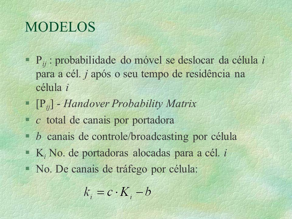 MODELOS §P ij : probabilidade do móvel se deslocar da célula i para a cél.
