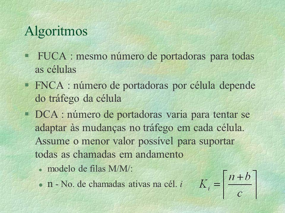 Algoritmos § FUCA : mesmo número de portadoras para todas as células §FNCA : número de portadoras por célula depende do tráfego da célula §DCA : número de portadoras varia para tentar se adaptar às mudanças no tráfego em cada célula.