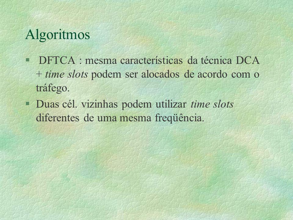 Algoritmos § DFTCA : mesma características da técnica DCA + time slots podem ser alocados de acordo com o tráfego.