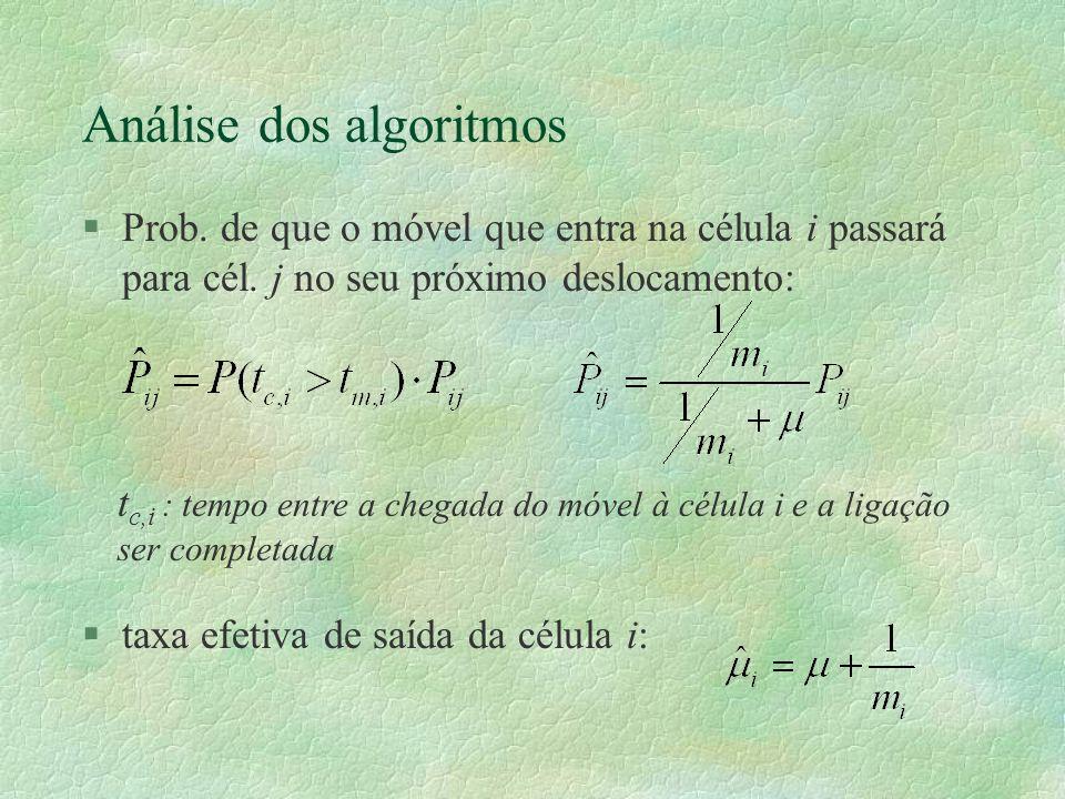 Análise dos algoritmos §Prob. de que o móvel que entra na célula i passará para cél.