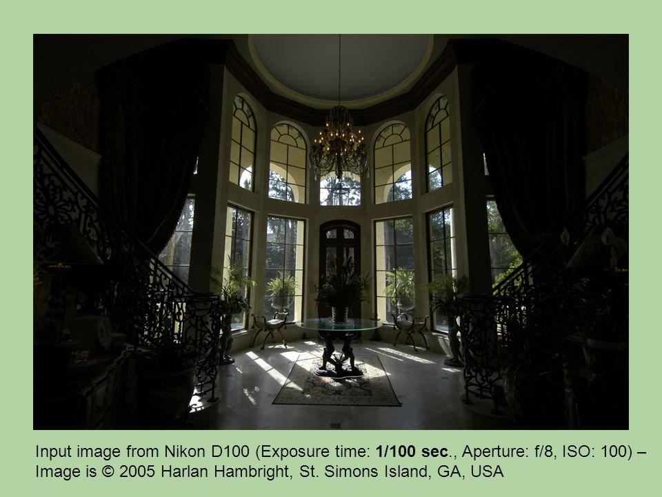 Input image from Nikon D100 (Exposure time: 1/100 sec., Aperture: f/8, ISO: 100) – Image is © 2005 Harlan Hambright, St. Simons Island, GA, USA
