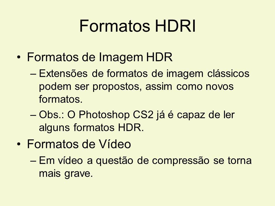 Formatos HDRI Formatos de Imagem HDR –Extensões de formatos de imagem clássicos podem ser propostos, assim como novos formatos. –Obs.: O Photoshop CS2