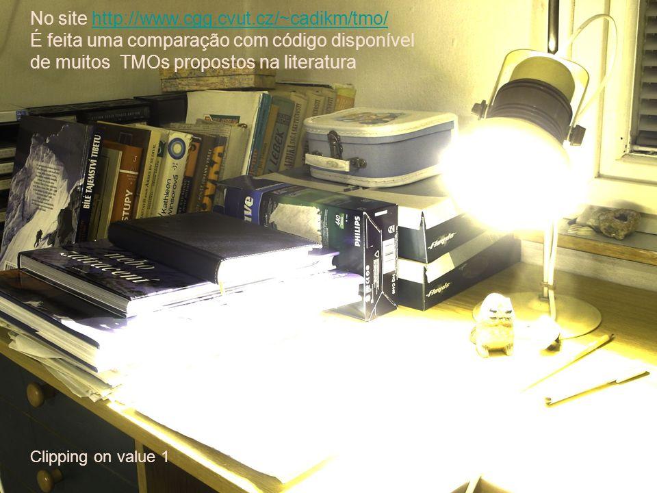 Clipping on value 1 No site http://www.cgg.cvut.cz/~cadikm/tmo/http://www.cgg.cvut.cz/~cadikm/tmo/ É feita uma comparação com código disponível de mui