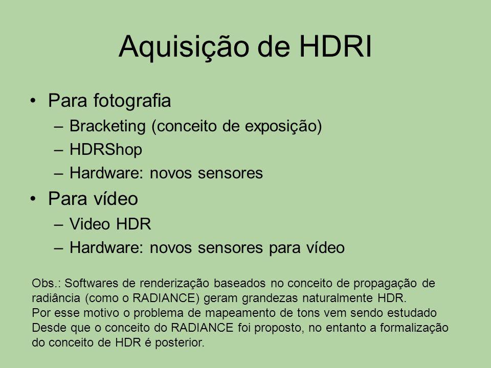 Aquisição de HDRI Para fotografia –Bracketing (conceito de exposição) –HDRShop –Hardware: novos sensores Para vídeo –Video HDR –Hardware: novos sensor