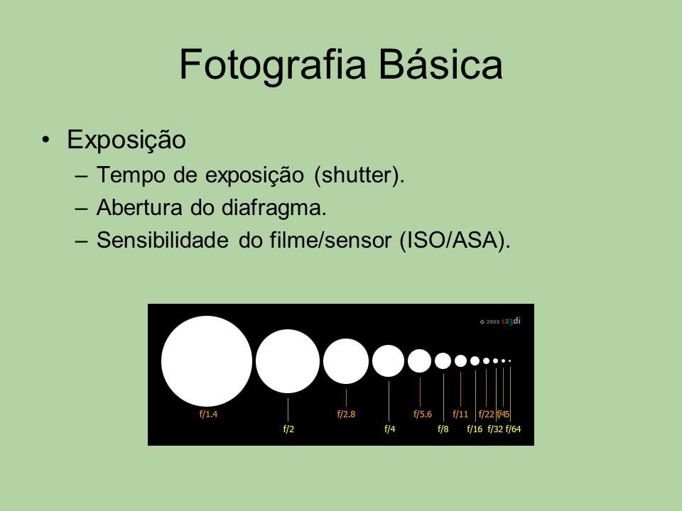 Fotografia Básica Exposição –Tempo de exposição (shutter). –Abertura do diafragma. –Sensibilidade do filme/sensor (ISO/ASA).