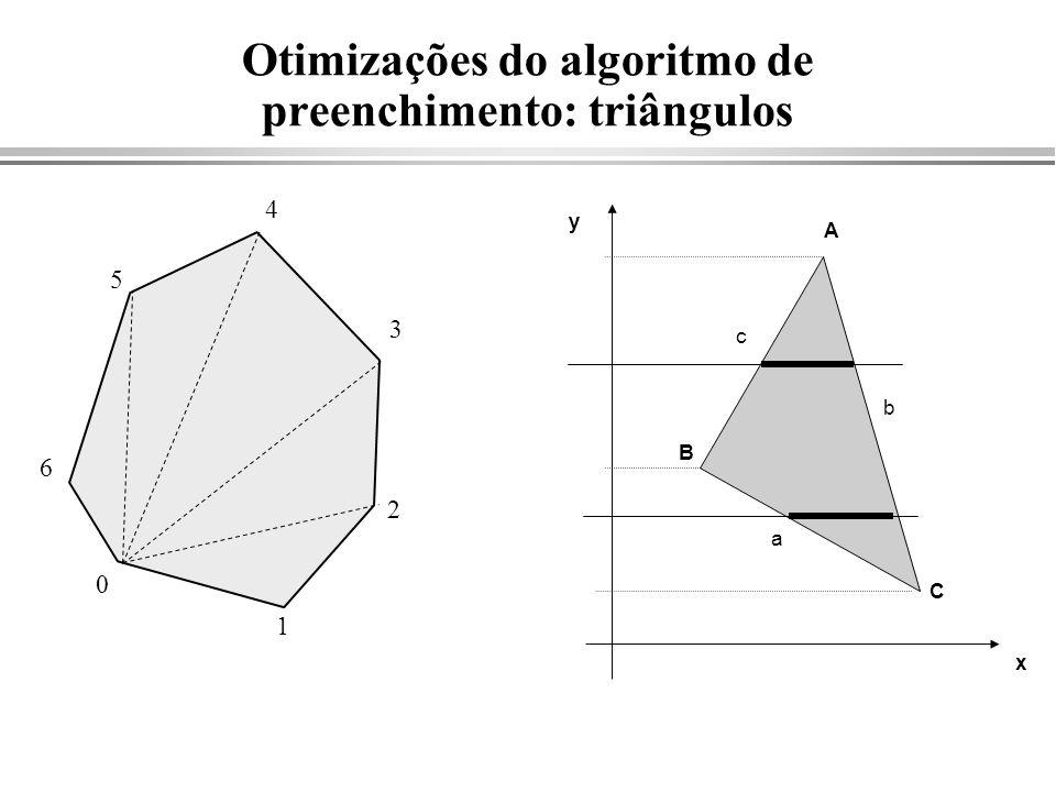 Otimizações do algoritmo de preenchimento: triângulos 0 1 2 3 4 5 6 B C a b c x y A