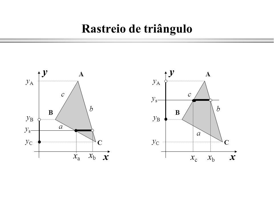 Rastreio de triângulo B C a b c x y A yCyC yAyA yByB xaxa xbxb ysys B C a b c x y A yCyC yAyA yByB xcxc xbxb ysys
