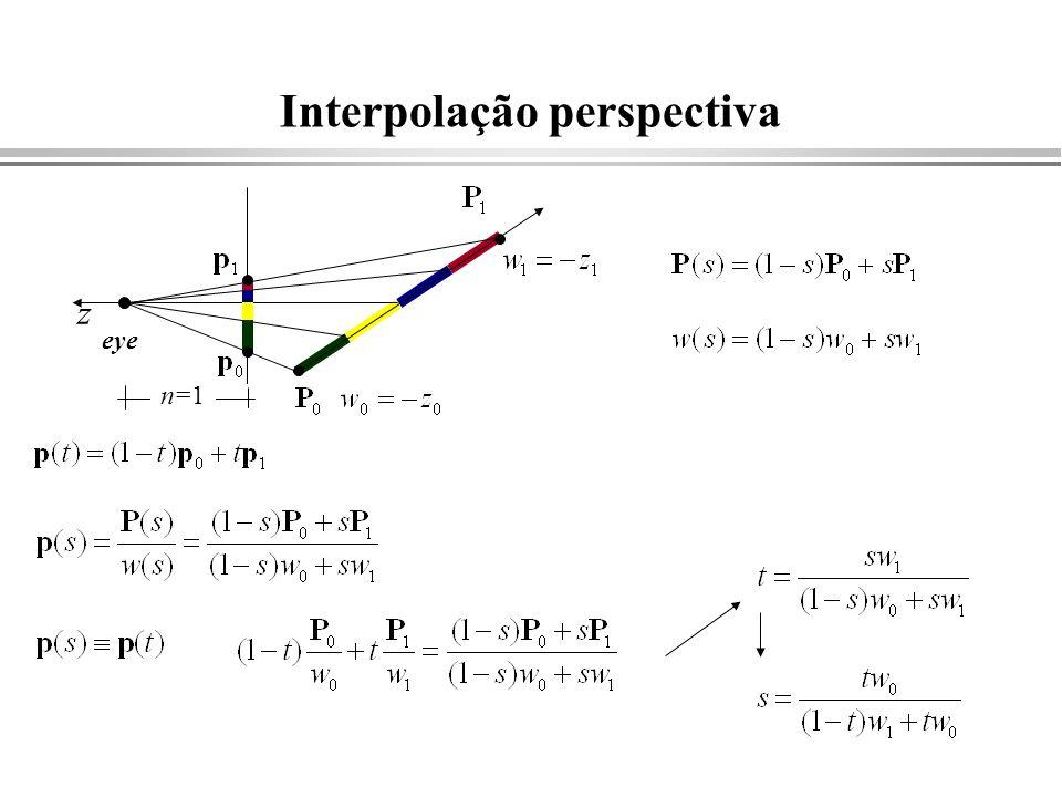 Interpolação perspectiva z eye n=1