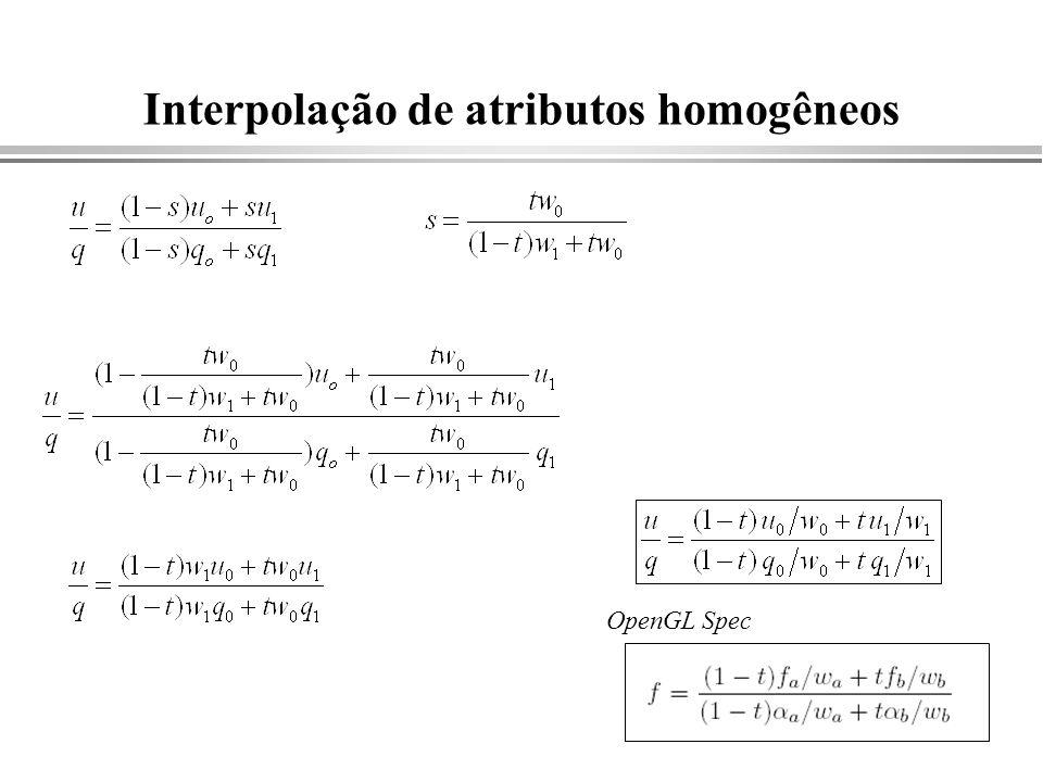 Interpolação de atributos homogêneos OpenGL Spec