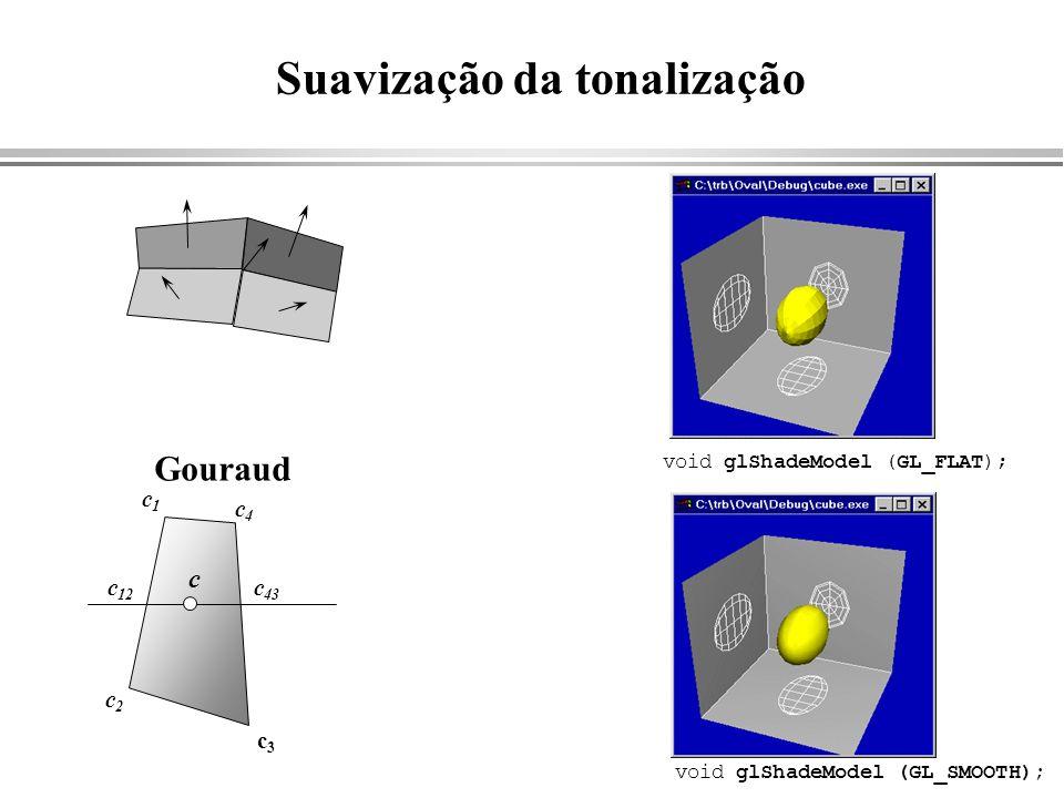 Suavização da tonalização c1c1 c4c4 c2c2 c3c3 c 12 c 43 c Gouraud void glShadeModel (GL_FLAT); void glShadeModel (GL_SMOOTH);