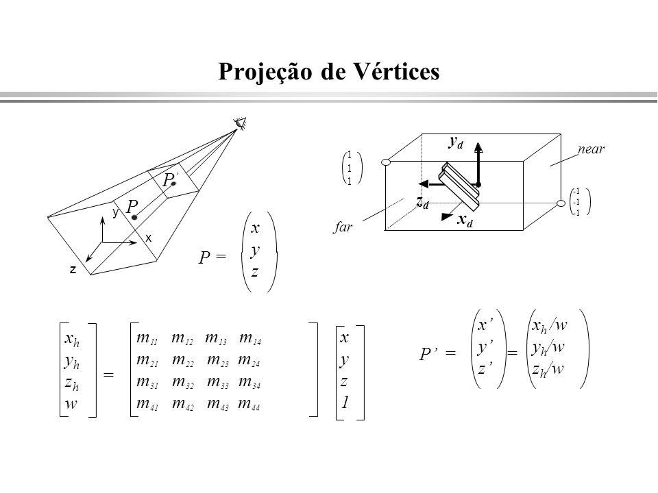 Projeção de Vértices xhyhzhwxhyhzhw xyz1xyz1 m 11 m 12 m 13 m 14 m 21 m 22 m 23 m 24 m 31 m 32 m 33 m 34 m 41 m 42 m 43 m 44 = P P z x y P xyzxyz = P