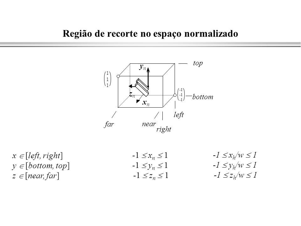 Região de recorte no espaço normalizado -1 x h /w 1 -1 y h /w 1 -1 z h /w 1 -1 x n 1 -1 y n 1 -1 z n 1 x [left, right] y [bottom, top] z [near, far] x