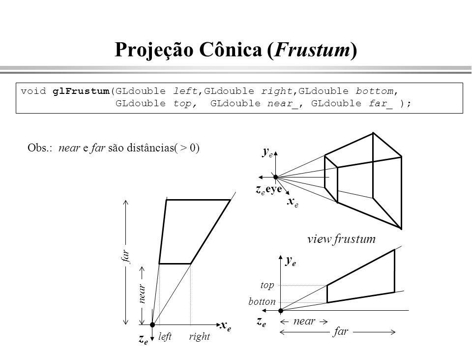 Projeção Cônica (Frustum) near yeye zeze far top botton xexe zeze near leftright far void glFrustum(GLdouble left,GLdouble right,GLdouble bottom, GLdo