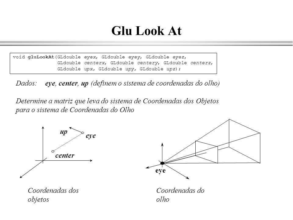 Glu Look At Dados: eye, center, up (definem o sistema de coordenadas do olho) Determine a matriz que leva do sistema de Coordenadas dos Objetos para o
