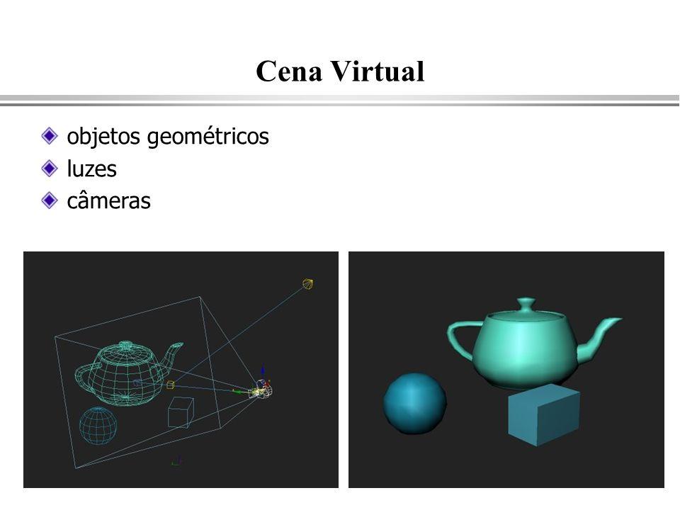 Cena Virtual objetos geométricos luzes câmeras
