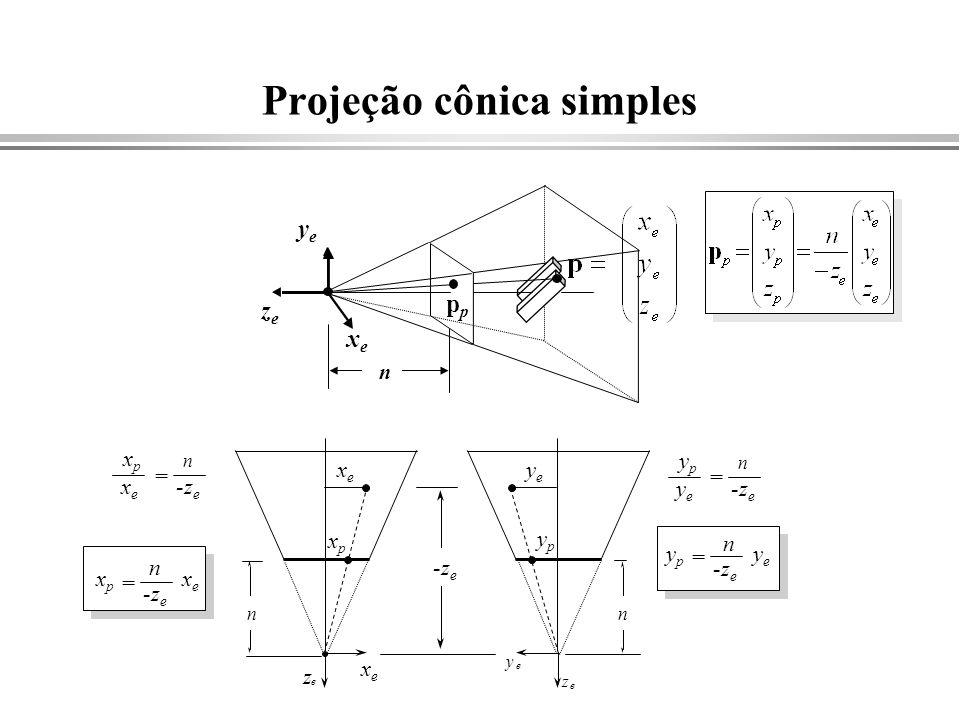 Projeção cônica simples yeye zeze p xexe z e n y e z e xexe xpxp yeye ypyp -z e yeye ypyp n = n yeye ypyp = n xexe xpxp = n xexe xpxp = n n xexe