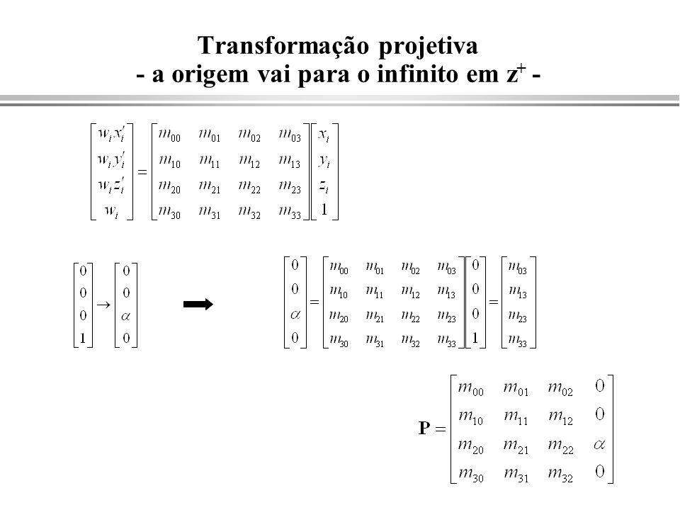 Transformação projetiva - a origem vai para o infinito em z + -