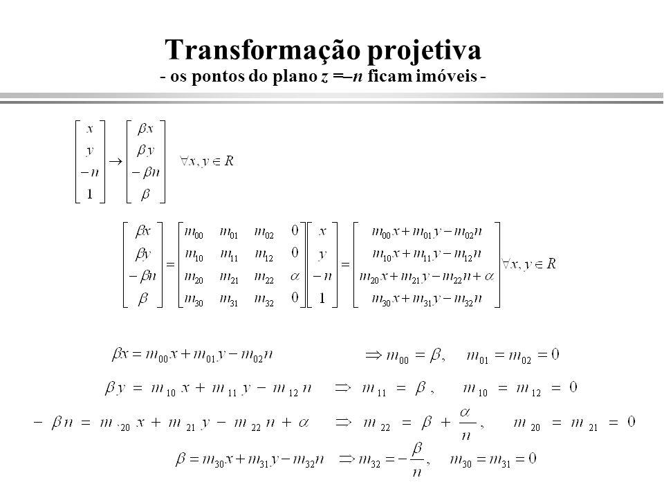 Transformação projetiva - os pontos do plano z =–n ficam imóveis -