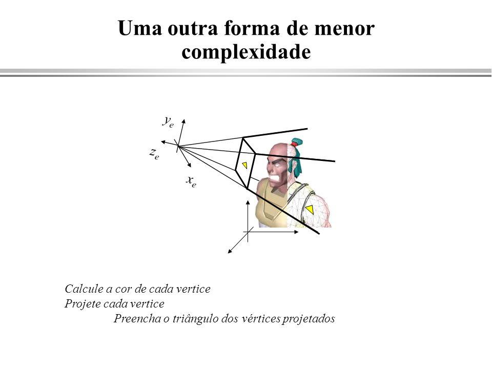 Simplificação da projeção cônica Projeção cônica plano de projeção eye direção de projeção plano de projeção Projeção ortográfica