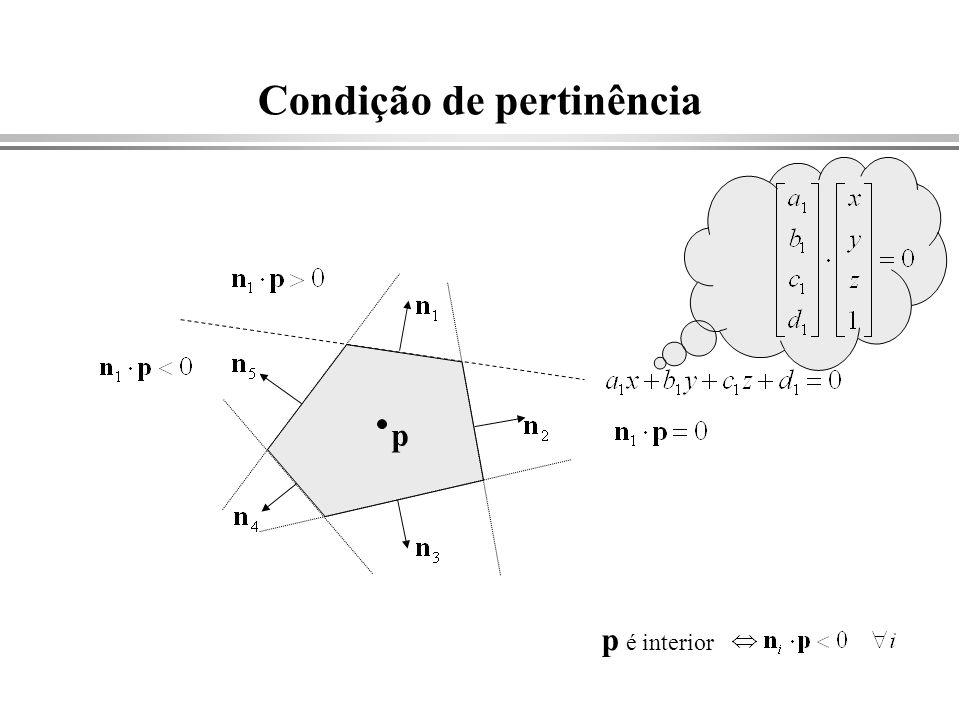 Condição de pertinência p é interior p