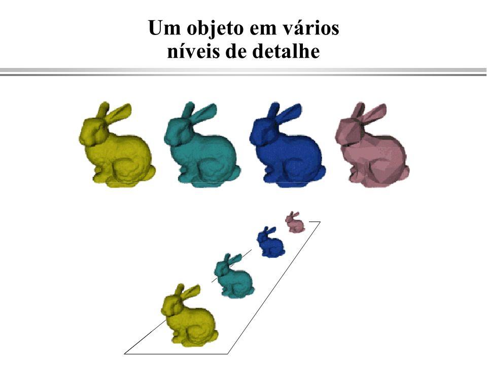 Cyrus-Beck - caso geral { Calcule Ni e escolha um PEi para cada aresta tE = 0; tL = 1; for (cada aresta ){ if (Ni.(P1-P0)!=0 ){ /* aresta não é paralela ao segmento */ calcule t; use sign of Ni.(P1-P0) para categorizar como PE ou PL; if( PE ) tE = max(tE, t); if( PL ) tL = min(tL, t); } else { /* aresta paralela ao segmento */ if (Ni.(P0-PEi) > 0) /* está fora */ return nil; } if (tE > tL) return nil; else return P(tE) and P(tL) as true clip intersections; }