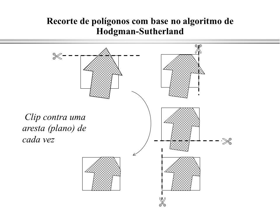 Recorte de polígonos com base no algoritmo de Hodgman-Sutherland Clip contra uma aresta (plano) de cada vez