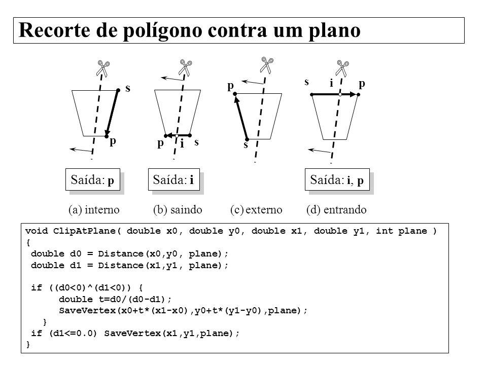 Recorte de polígono contra um plano void ClipAtPlane( double x0, double y0, double x1, double y1, int plane ) { double d0 = Distance(x0,y0, plane); do
