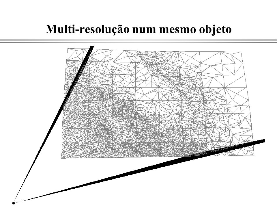 APIs para definição de polígonos int npoints; double x[10],y[10]; FillPoly(npoints, x, y); typedef struct { double x,y; } Point; Point vertex[10]; FillPoly(npoints, vertex) Begin(FILL); Vertex(30.,20.); Vertex(15.,18.); … End( ); void Vertex(double x, double y, double z) { ClipAtPlane( x, y, z); } void End( );{ ClipAtPlane(xf,yf,zf); FillSavedPoly( ); }