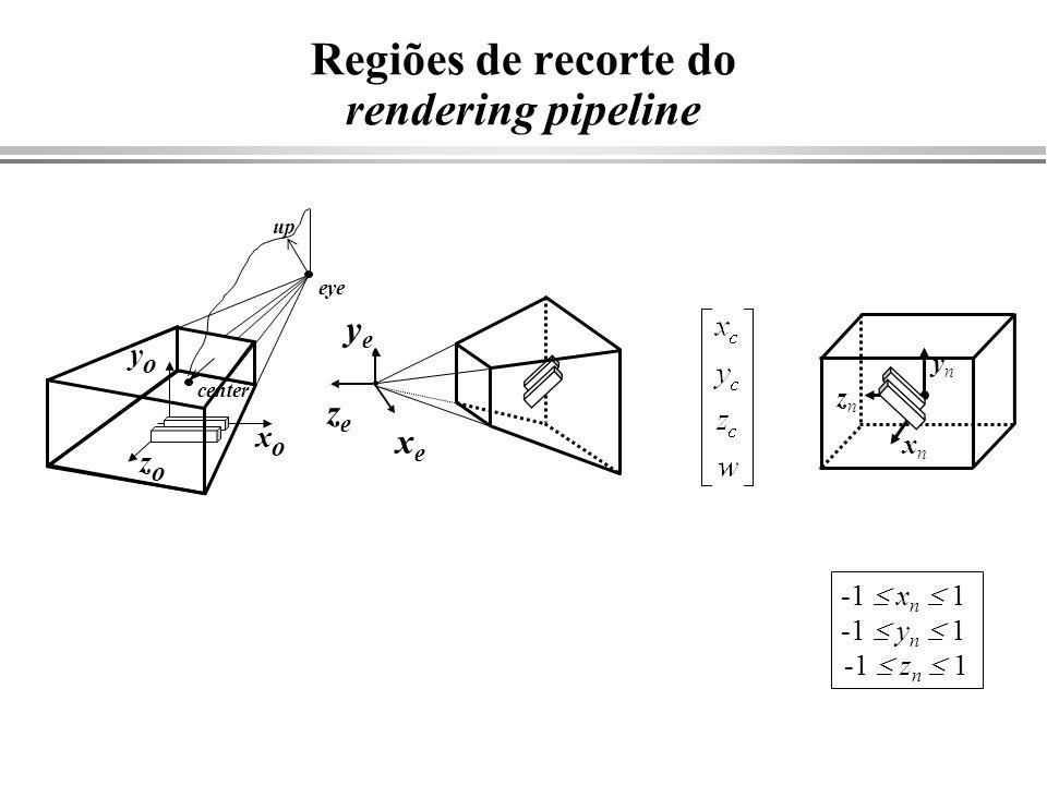 Regiões de recorte do rendering pipeline xexe yeye zeze center eye zozo yoyo xoxo up xnxn ynyn znzn -1 x n 1 -1 y n 1 -1 z n 1