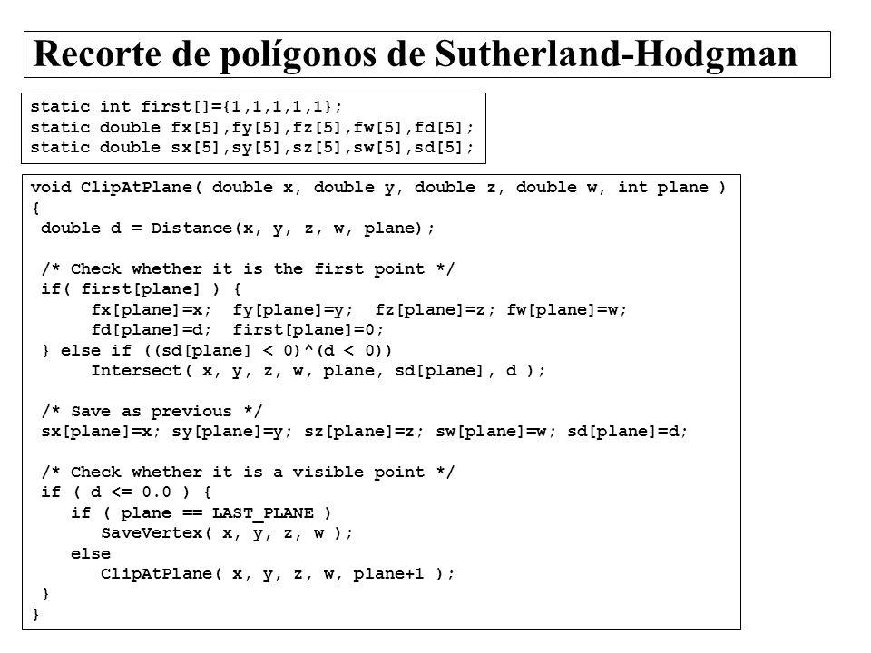 Recorte de polígonos de Sutherland-Hodgman void ClipAtPlane( double x, double y, double z, double w, int plane ) { double d = Distance(x, y, z, w, pla
