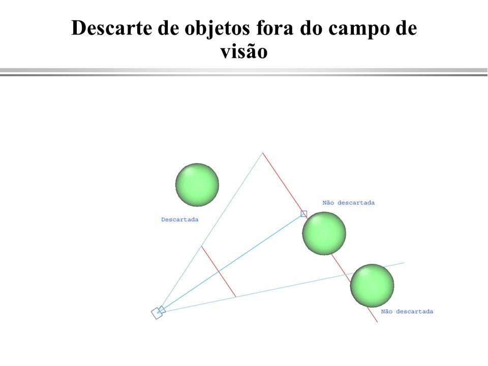Fechando o processo void ClipClose( int plane ) { if ((sd[plane]<0)^(fd[plane]<0)) Intersect( fx[plane], fy[plane], plane, sd[plane], fd[plane] ); first[plane]=1; if( plane == LAST_PLANE ) FillSavedPolygon( ); else ClipClose( plane+1 ); } void ClipClose( int plane ) { if ((sd[plane]<0)^(fd[plane]<0)) Intersect( fx[plane], fy[plane], plane, sd[plane], fd[plane] ); first[plane]=1; if( plane == LAST_PLANE ) FillSavedPolygon( ); else ClipClose( plane+1 ); } Begin(FILL); Vertex(30.,20.); Vertex(15.,18.); … End( ); Begin(FILL); Vertex(30.,20.); Vertex(15.,18.); … End( );