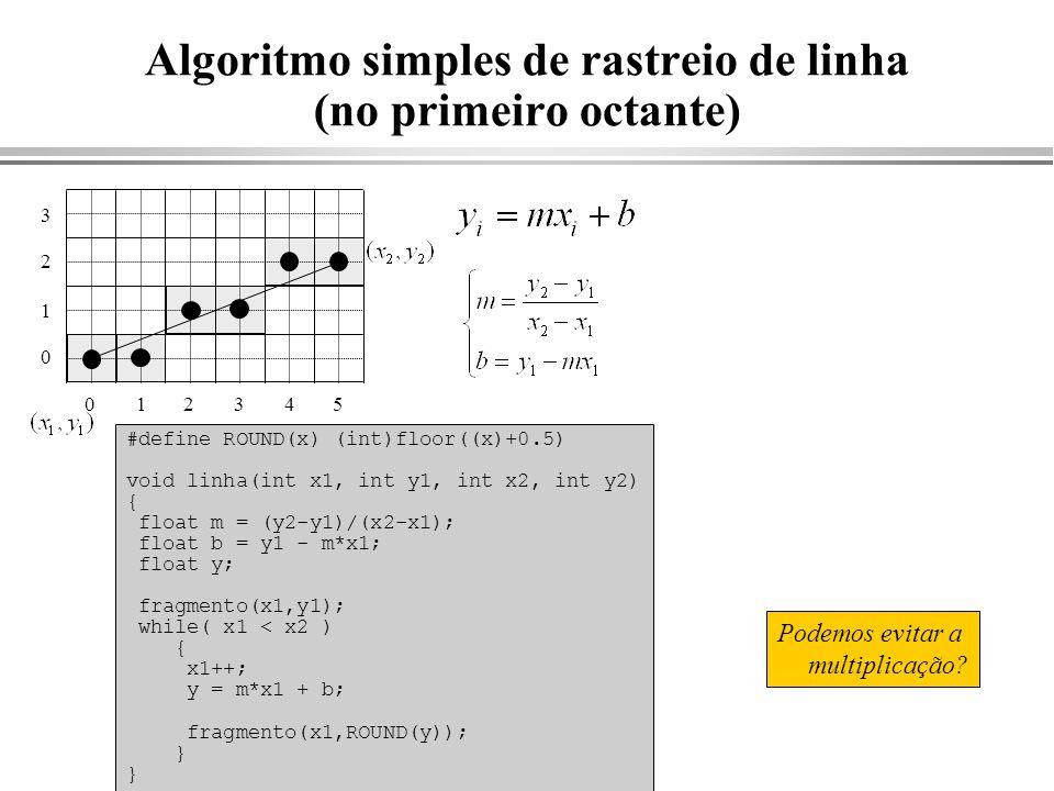 Algoritmo simples de rastreio de linha (no primeiro octante) #define ROUND(x) (int)floor((x)+0.5) void linha(int x1, int y1, int x2, int y2) { float m