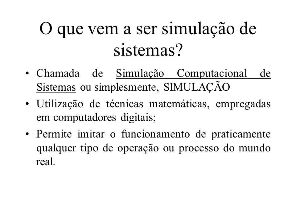 O que vem a ser simulação de sistemas? Chamada de Simulação Computacional de Sistemas ou simplesmente, SIMULAÇÃO Utilização de técnicas matemáticas, e